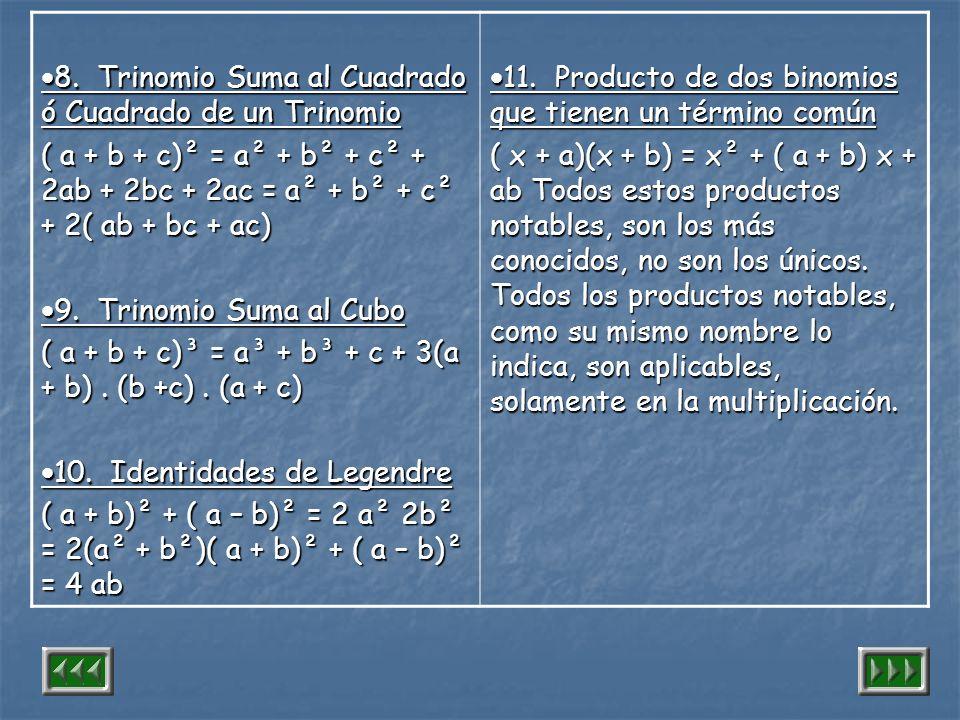 8. Trinomio Suma al Cuadrado ó Cuadrado de un Trinomio