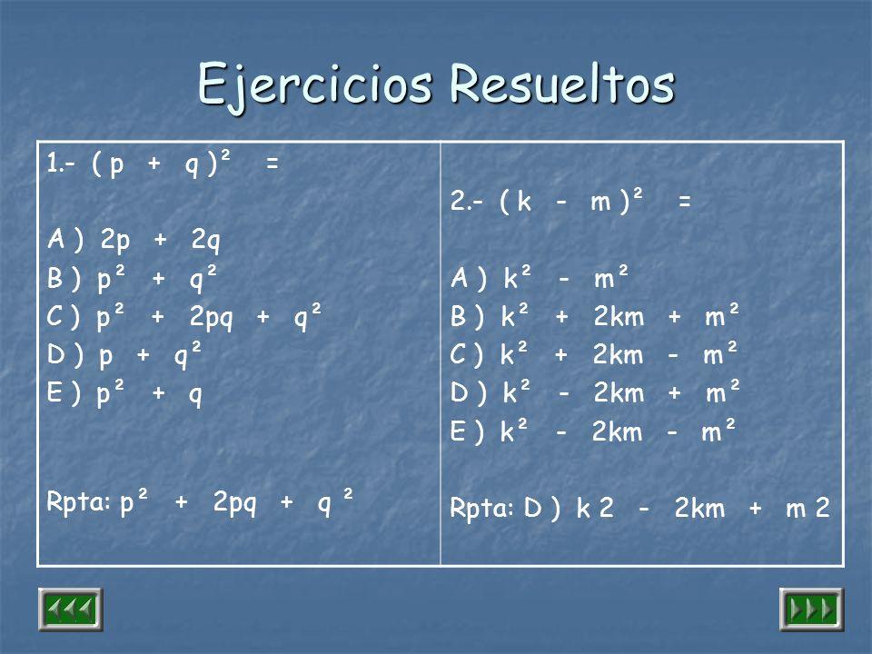 Ejercicios Resueltos 1.- ( p + q )² = A ) 2p + 2q B ) p² + q²