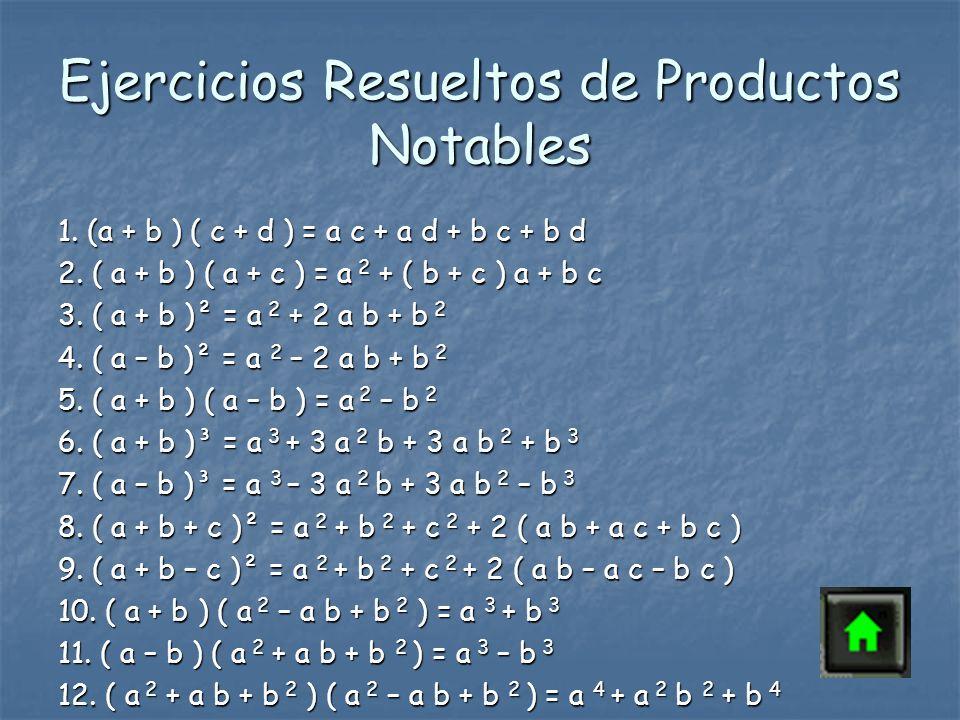Ejercicios Resueltos de Productos Notables