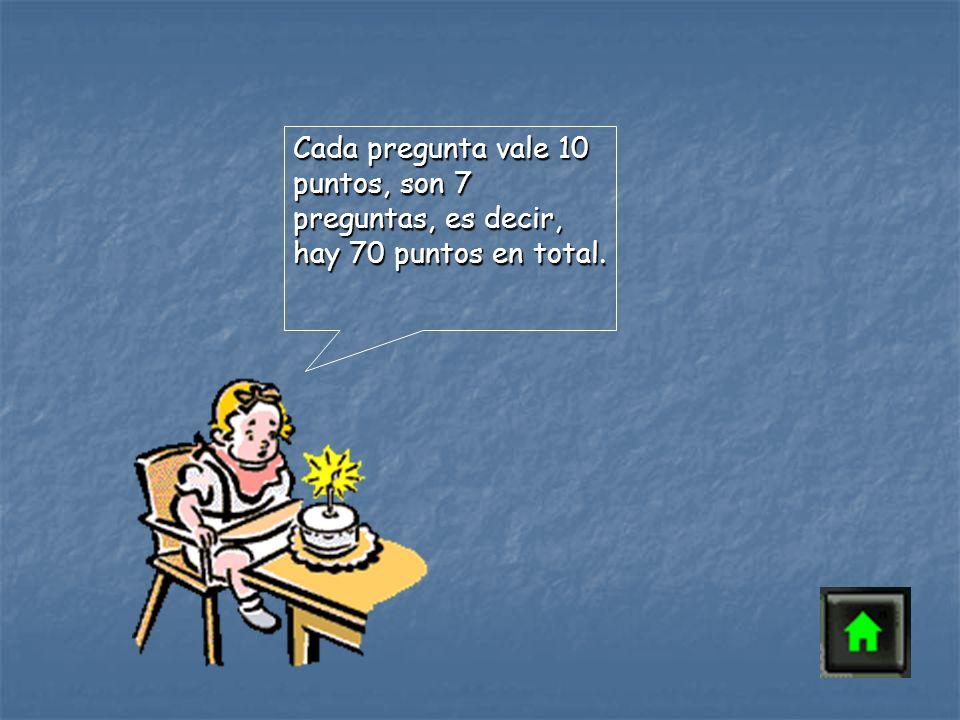 Cada pregunta vale 10 puntos, son 7 preguntas, es decir, hay 70 puntos en total.