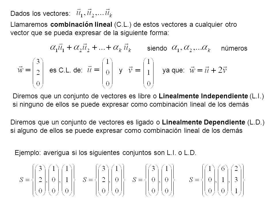 Dados los vectores: Llamaremos combinación lineal (C.L.) de estos vectores a cualquier otro vector que se pueda expresar de la siguiente forma: