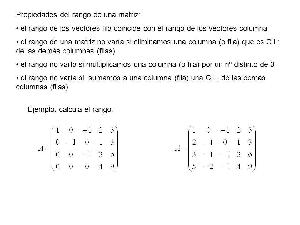 Propiedades del rango de una matriz: