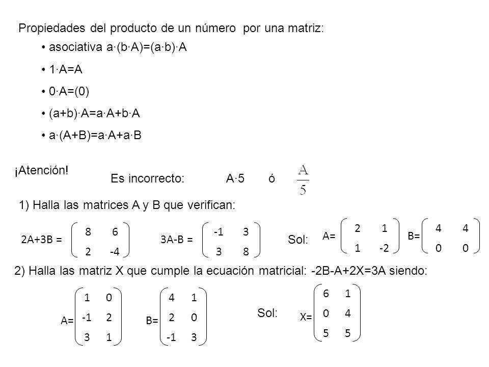 Propiedades del producto de un número por una matriz: