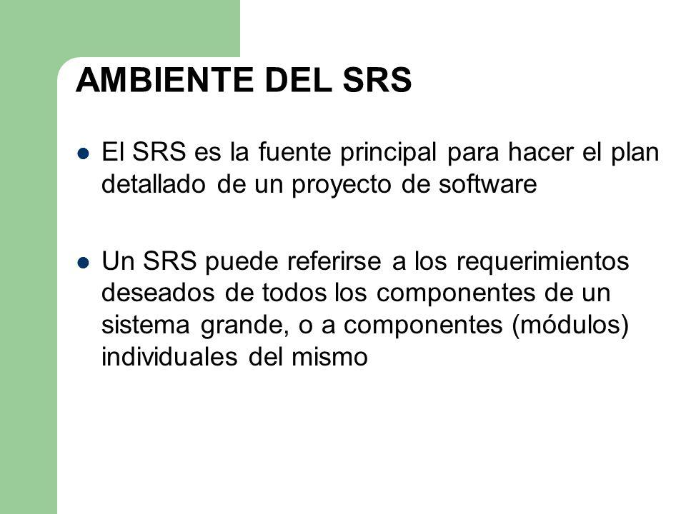 AMBIENTE DEL SRS El SRS es la fuente principal para hacer el plan detallado de un proyecto de software.