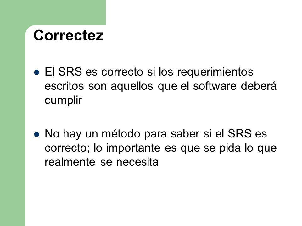 Correctez El SRS es correcto si los requerimientos escritos son aquellos que el software deberá cumplir.