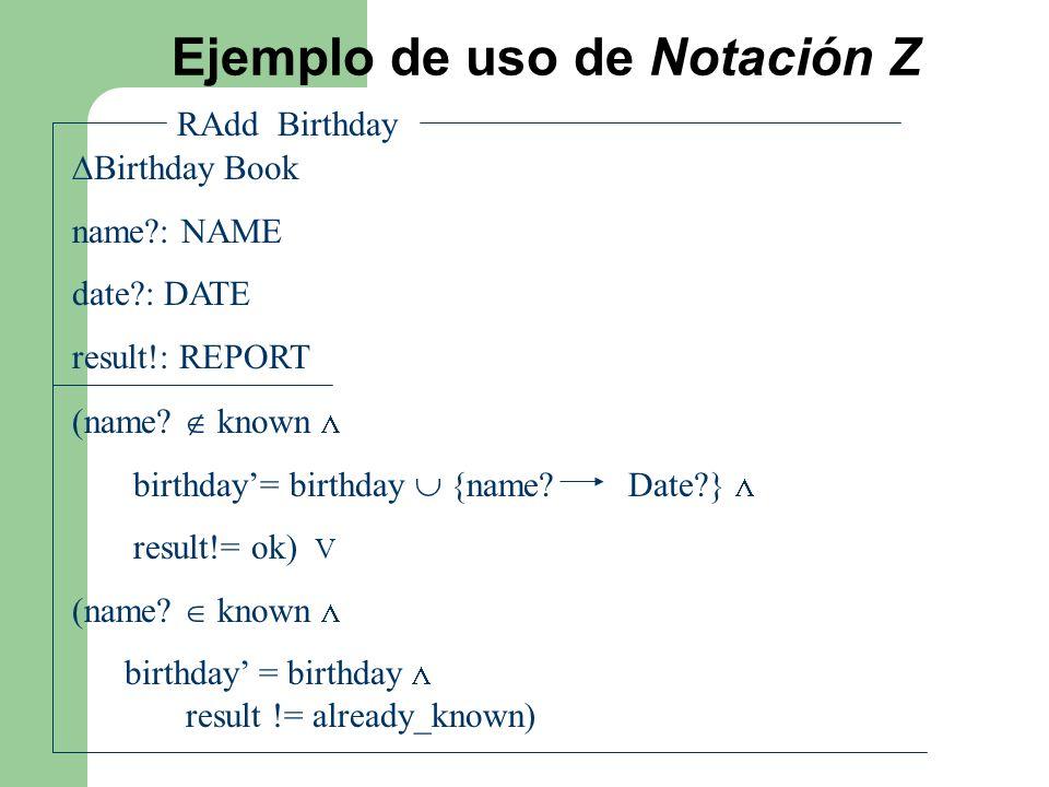 Ejemplo de uso de Notación Z