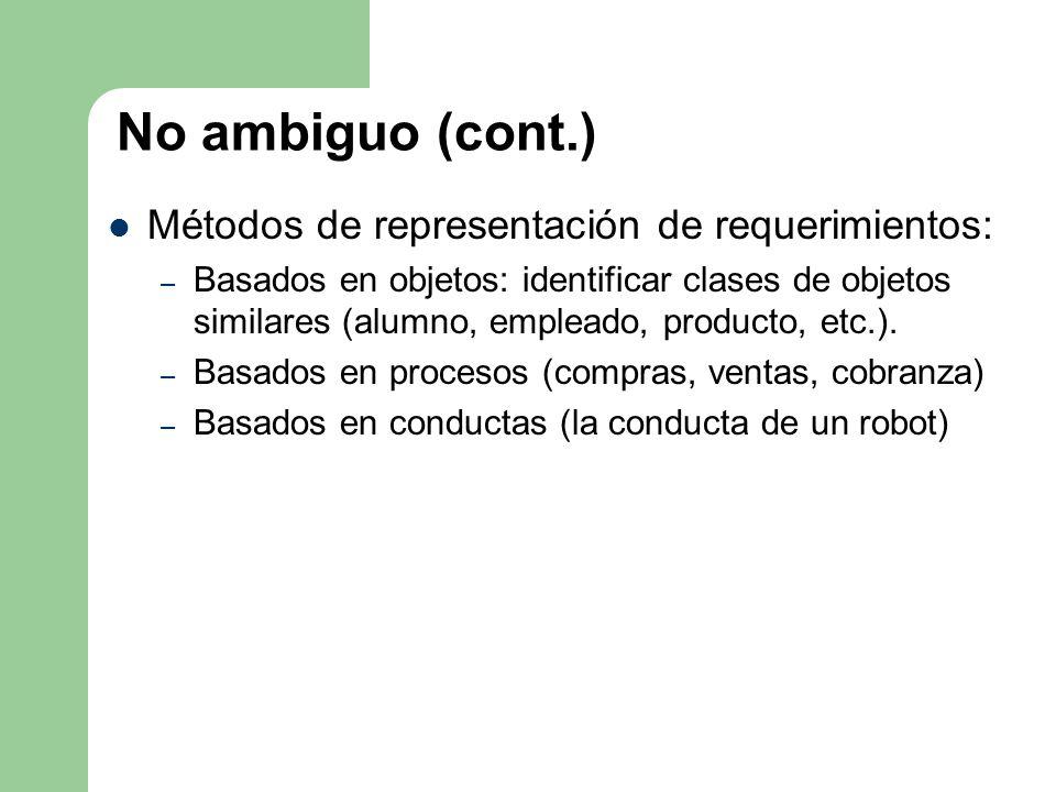 No ambiguo (cont.) Métodos de representación de requerimientos: