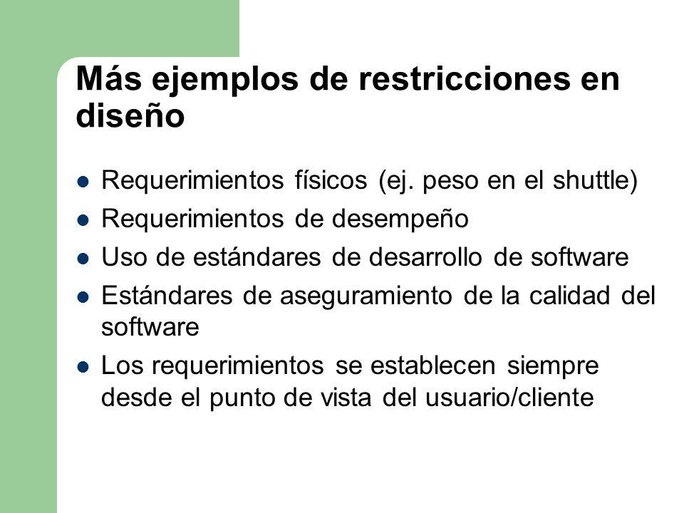 Más ejemplos de restricciones en diseño