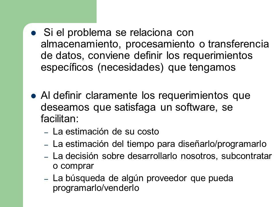 Si el problema se relaciona con almacenamiento, procesamiento o transferencia de datos, conviene definir los requerimientos específicos (necesidades) que tengamos