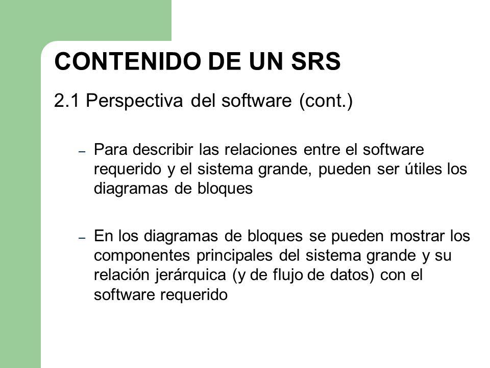 CONTENIDO DE UN SRS 2.1 Perspectiva del software (cont.)