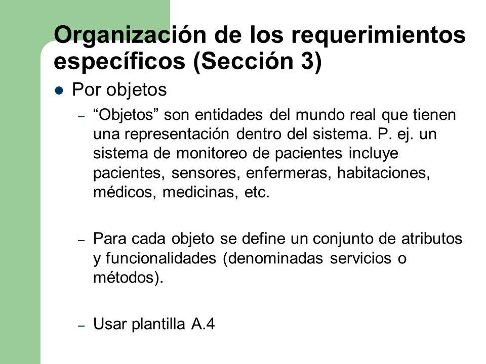 Organización de los requerimientos específicos (Sección 3)