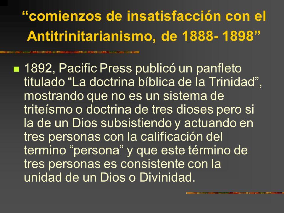 comienzos de insatisfacción con el Antitrinitarianismo, de 1888- 1898