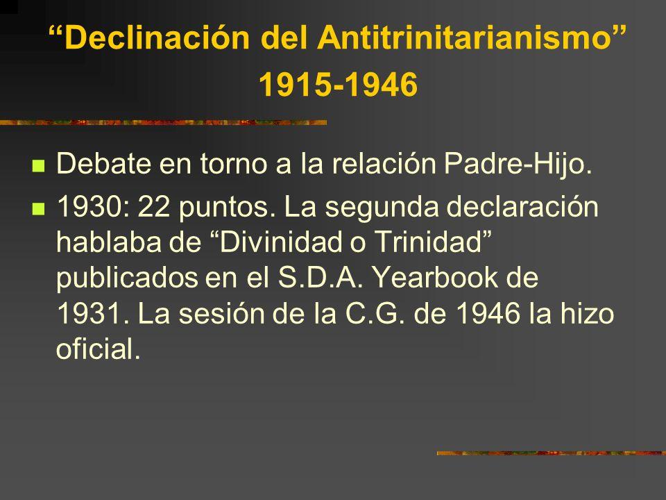Declinación del Antitrinitarianismo 1915-1946