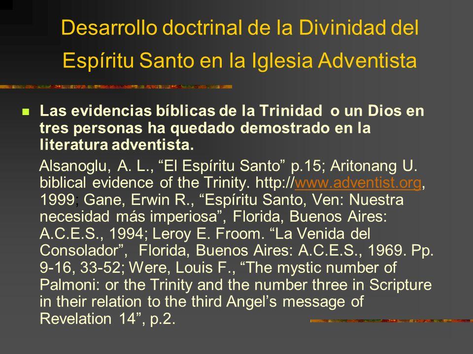 Desarrollo doctrinal de la Divinidad del Espíritu Santo en la Iglesia Adventista