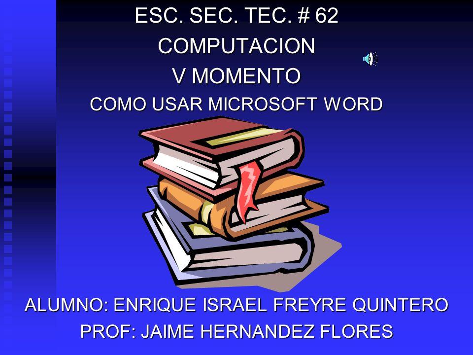 ESC. SEC. TEC. # 62 COMPUTACION V MOMENTO COMO USAR MICROSOFT WORD