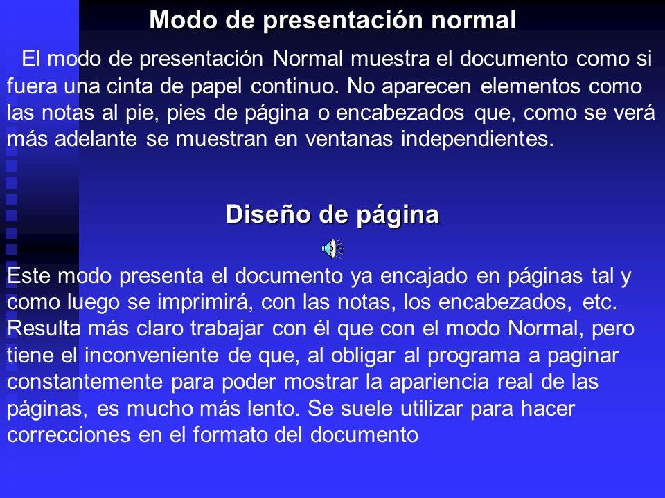 Modo de presentación normal