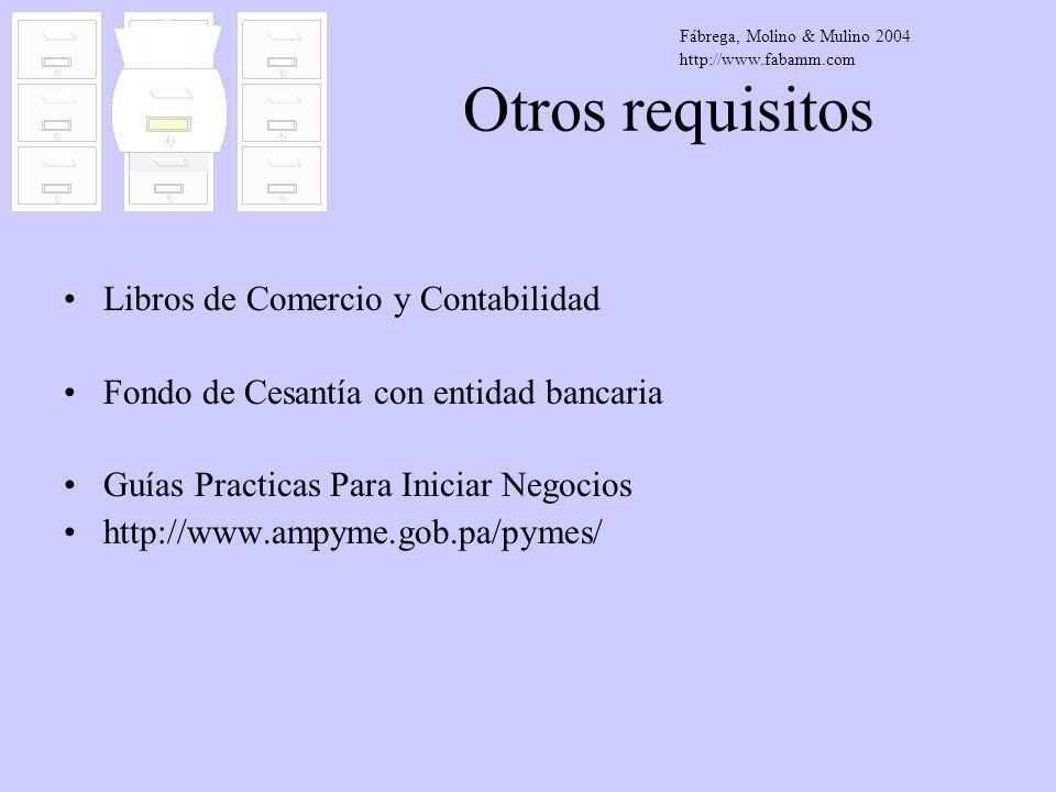 Otros requisitos Libros de Comercio y Contabilidad