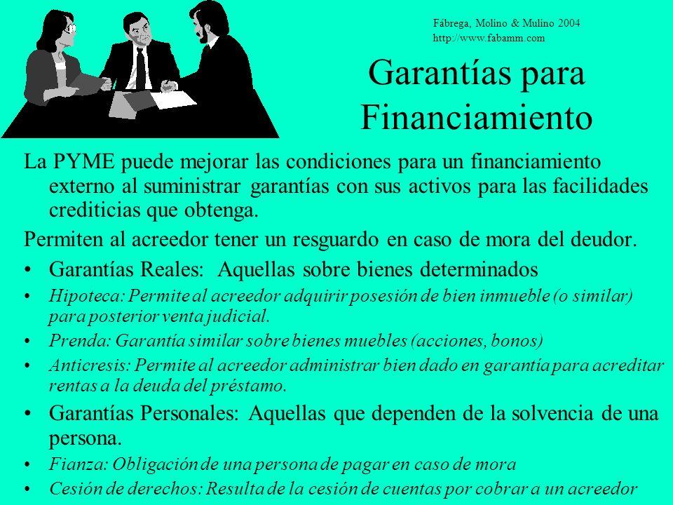 Garantías para Financiamiento