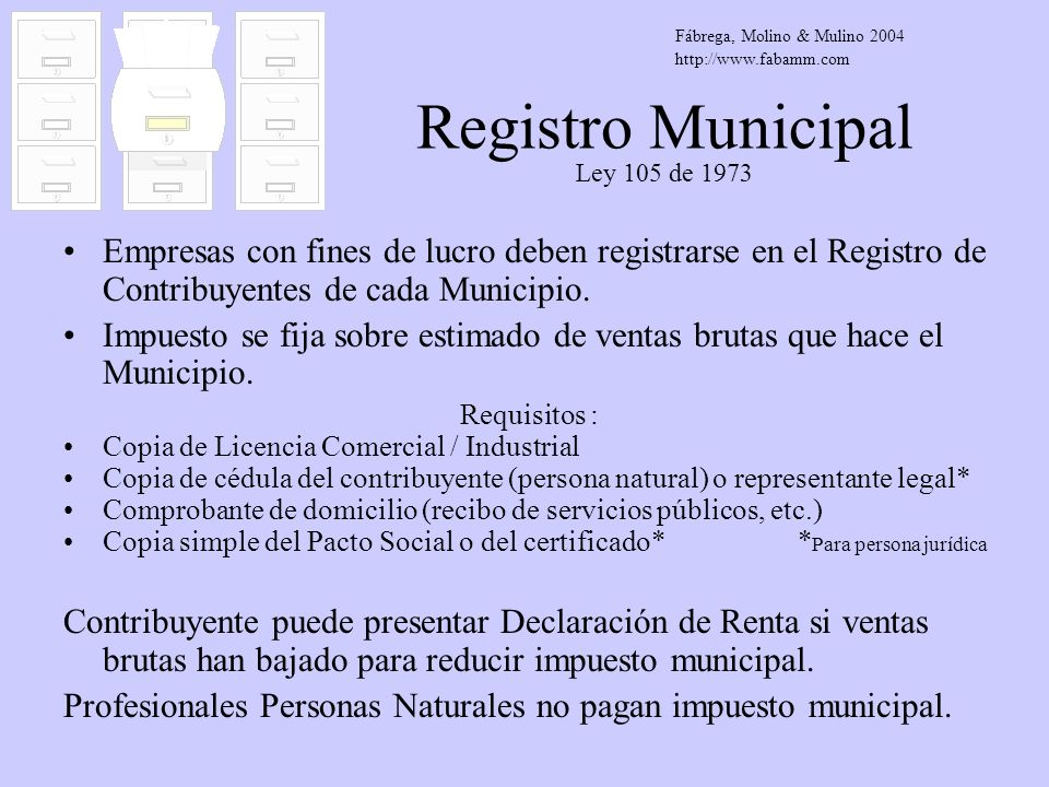 Registro Municipal Ley 105 de 1973