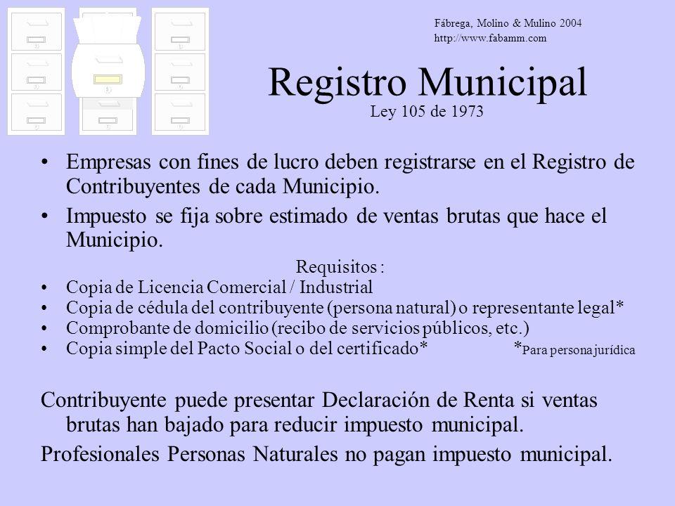 Registro Municipal Ley 105 de 1973