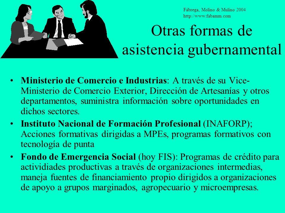 Otras formas de asistencia gubernamental