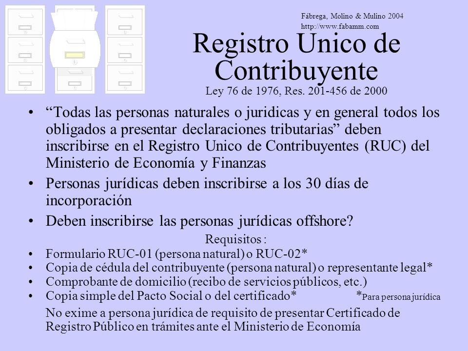 Registro Unico de Contribuyente Ley 76 de 1976, Res. 201-456 de 2000