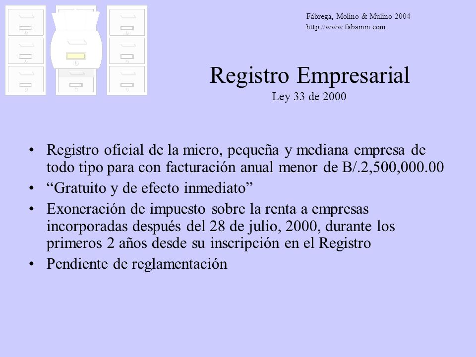 Registro Empresarial Ley 33 de 2000