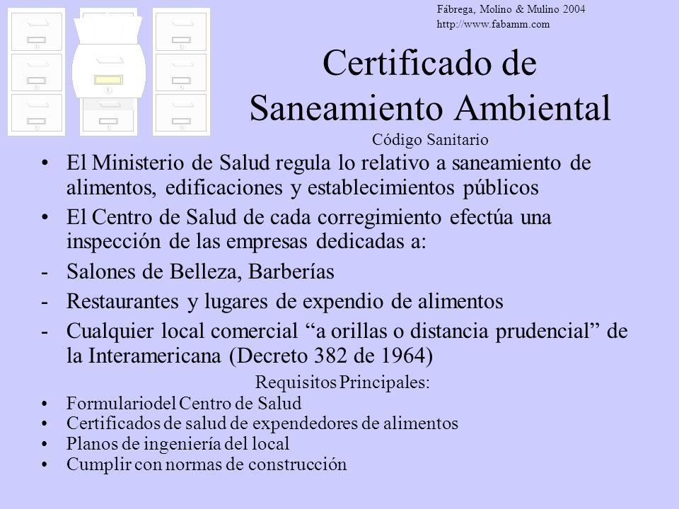 Certificado de Saneamiento Ambiental Código Sanitario
