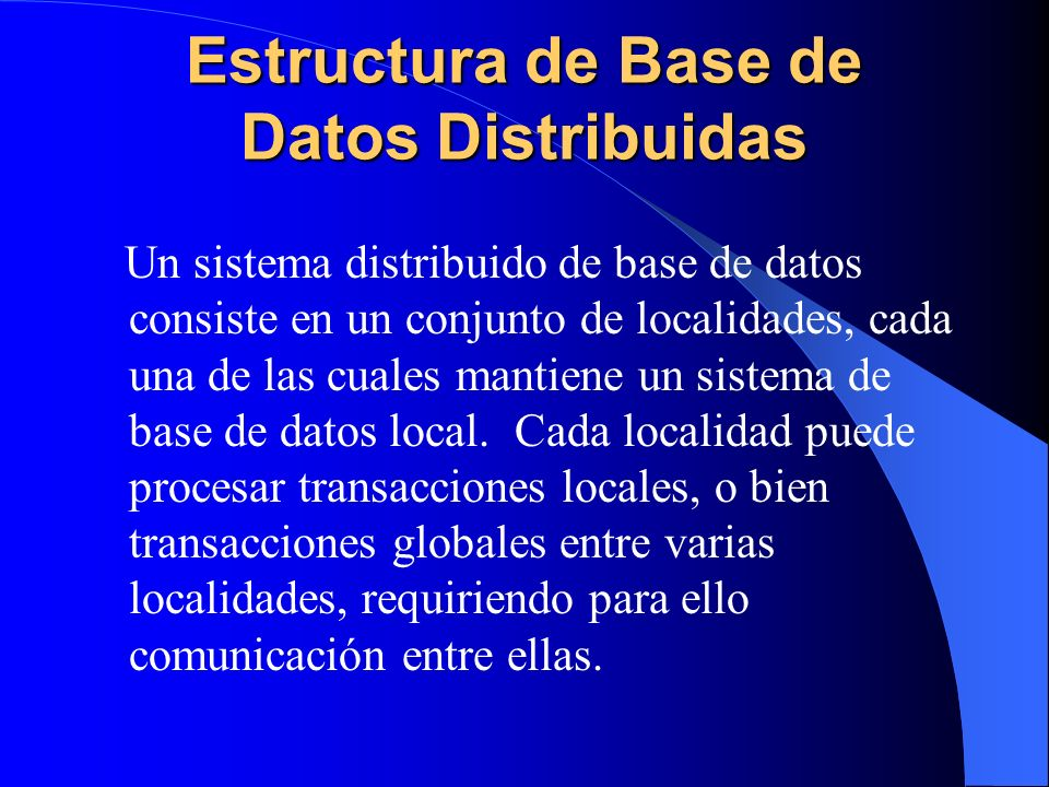 Estructura de Base de Datos Distribuidas
