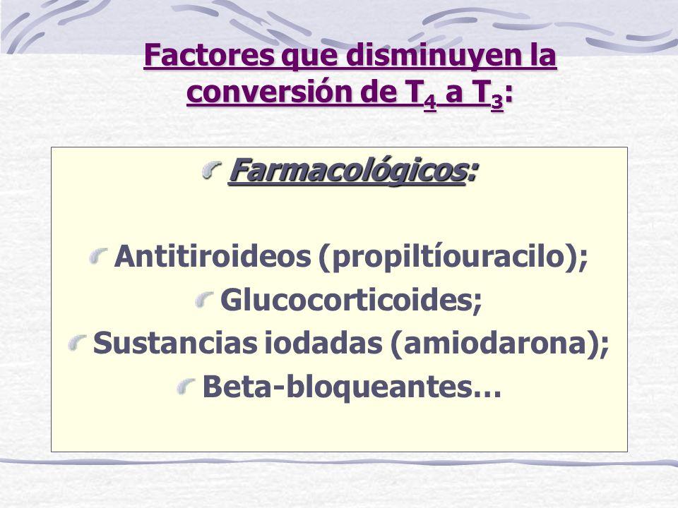 Factores que disminuyen la conversión de T4 a T3: