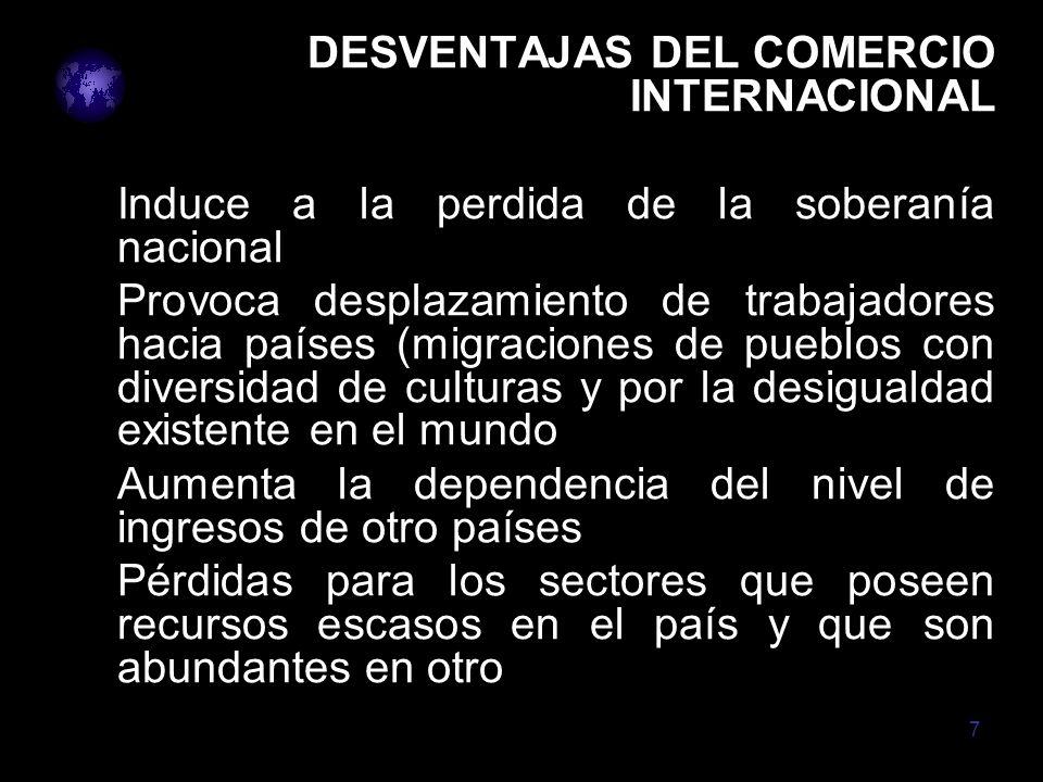 DESVENTAJAS DEL COMERCIO INTERNACIONAL