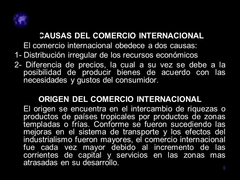 CAUSAS DEL COMERCIO INTERNACIONAL