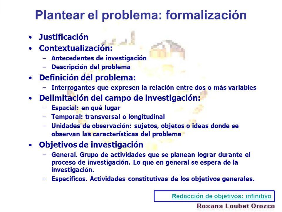 Plantear el problema: formalización