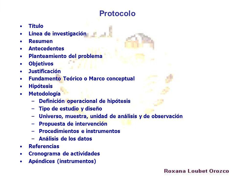 Protocolo Título Línea de investigación Resumen Antecedentes