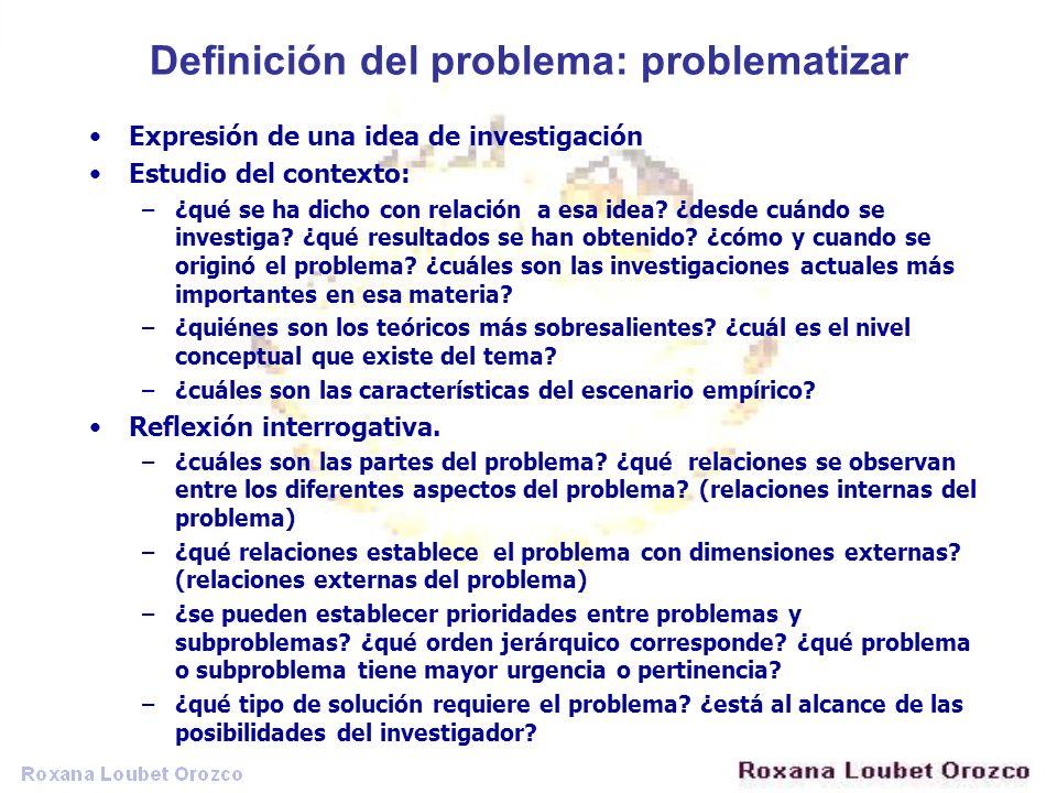 Definición del problema: problematizar