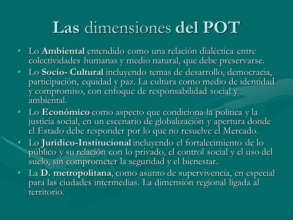Las dimensiones del POT