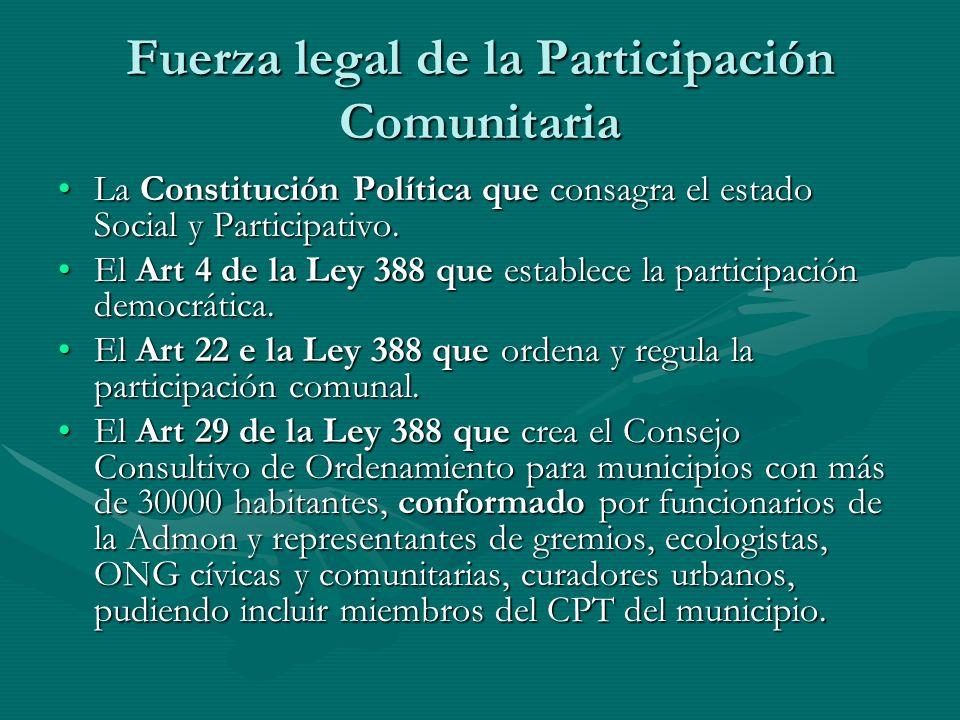 Fuerza legal de la Participación Comunitaria
