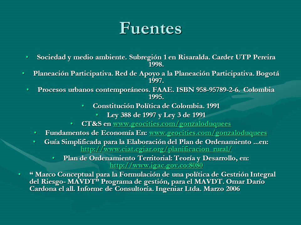 Fuentes Sociedad y medio ambiente. Subregión 1 en Risaralda. Carder UTP Pereira 1998.