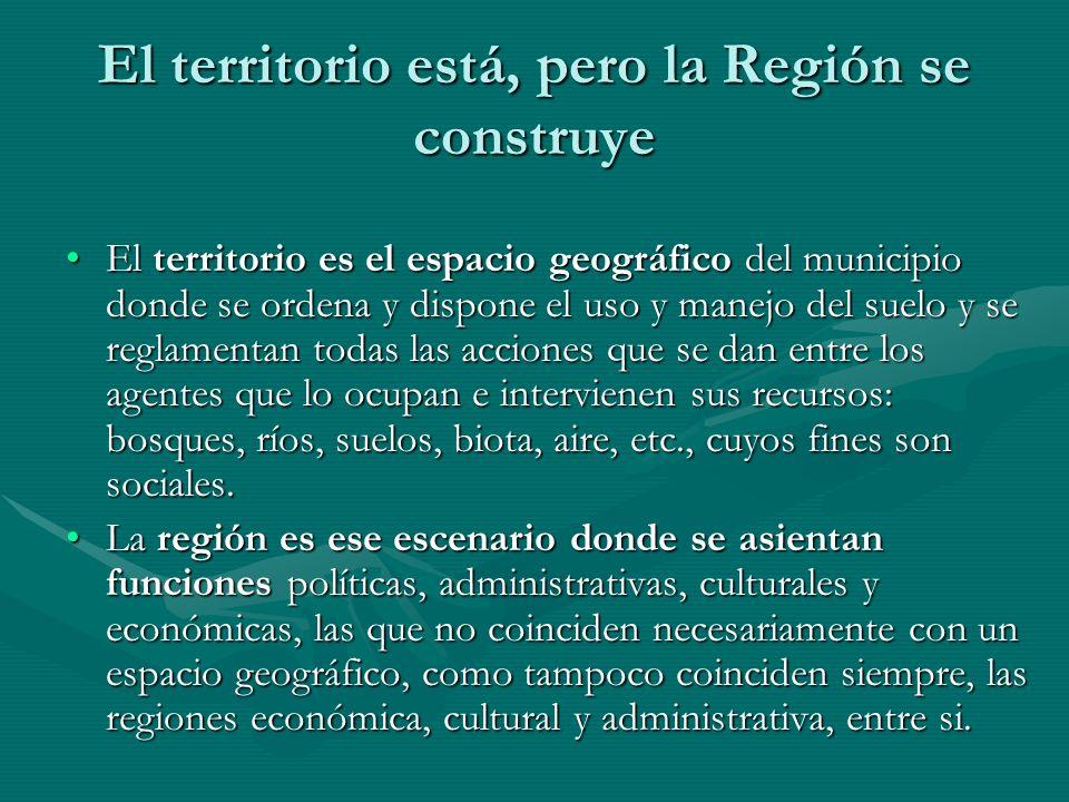 El territorio está, pero la Región se construye