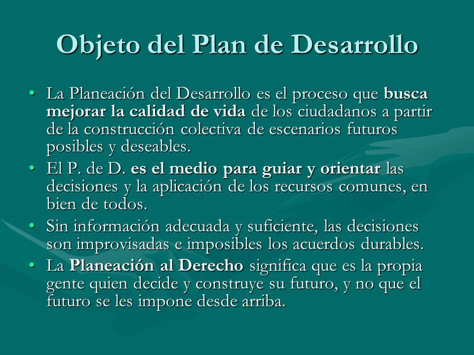 Objeto del Plan de Desarrollo