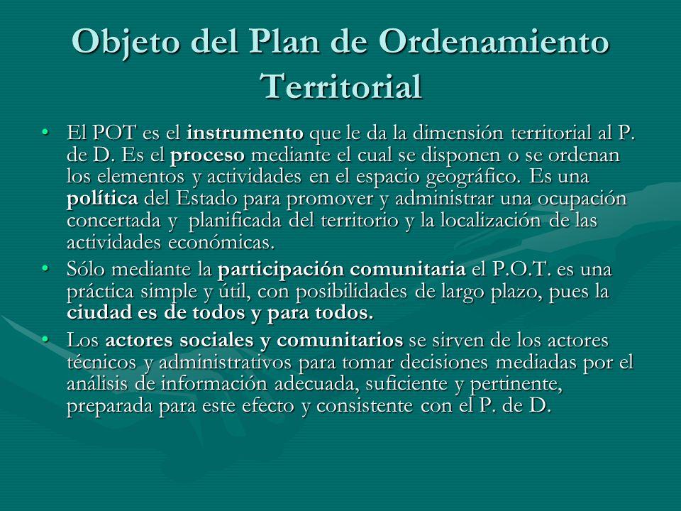 Objeto del Plan de Ordenamiento Territorial