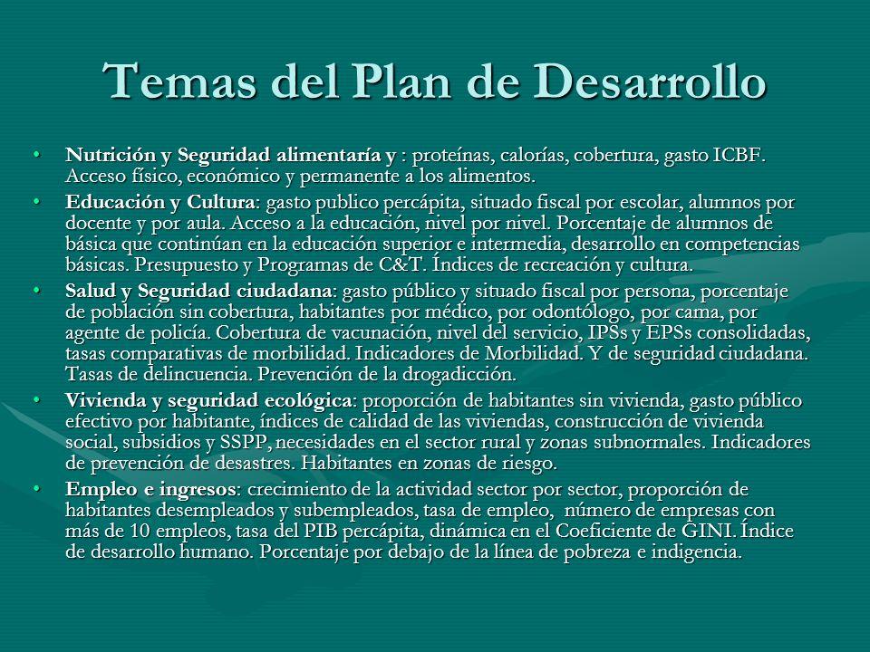 Temas del Plan de Desarrollo