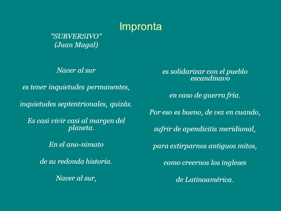 Impronta SUBVERSIVO (Juan Magal) Nacer al sur