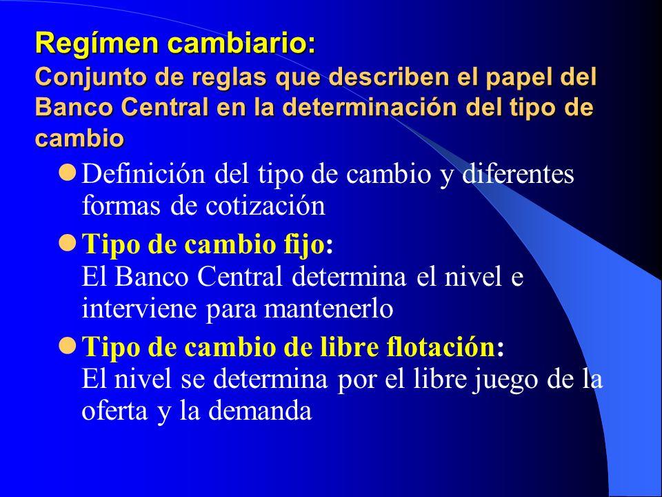 Regímen cambiario: Conjunto de reglas que describen el papel del Banco Central en la determinación del tipo de cambio