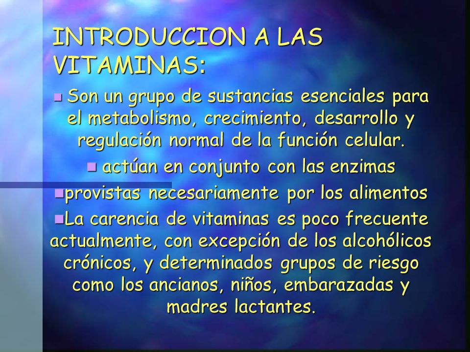 INTRODUCCION A LAS VITAMINAS: