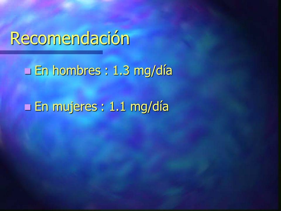 Recomendación En hombres : 1.3 mg/día En mujeres : 1.1 mg/día