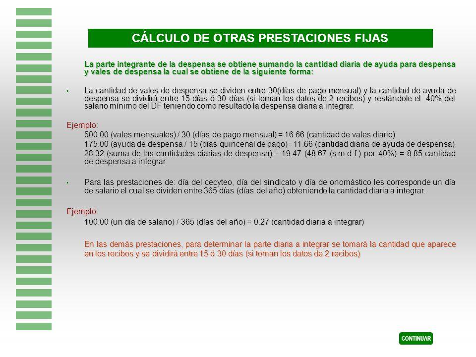 CÁLCULO DE OTRAS PRESTACIONES FIJAS