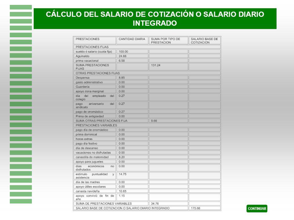 CÁLCULO DEL SALARIO DE COTIZACIÓN O SALARIO DIARIO INTEGRADO