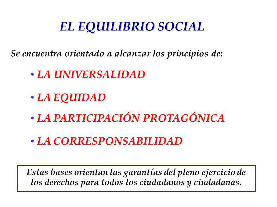 EL EQUILIBRIO SOCIAL LA UNIVERSALIDAD LA EQUIDAD