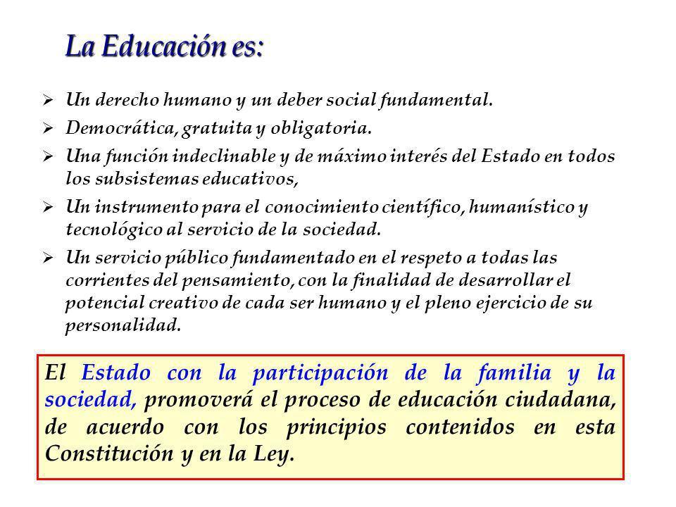 La Educación es: Un derecho humano y un deber social fundamental. Democrática, gratuita y obligatoria.